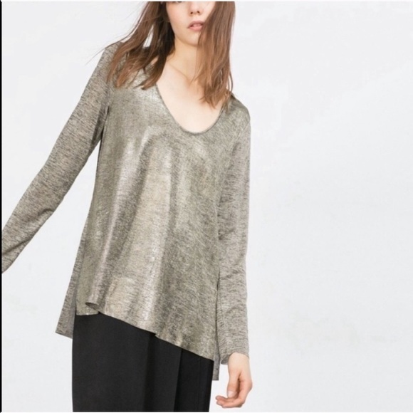 Zara Tops - Zara Gold Shimmery Long Sleeve High-Low Blouse
